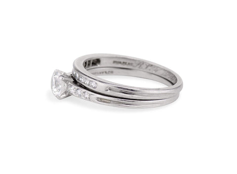 Tiffany & Co. Mid-Century .65 Carat Diamond and Platinum Wedding Set