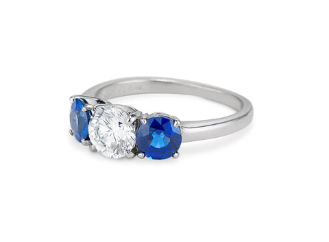 Tiffany & Co. Mid-Century Diamond and Sapphire Three-Stone Ring, American