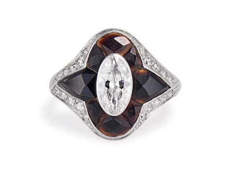 Tiffany & Co Oval Cut Diamond & Black Onyx Ring