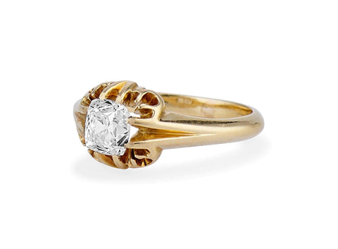 Victorian 1.01 Carat Peruzzi Cushion Cut Diamond Ring