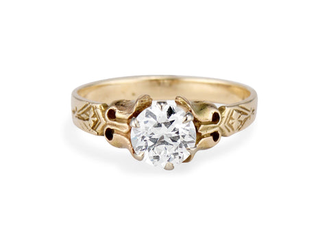 Victorian 1.02 Carat Old European Cut Diamond Solitaire Engagement Ring