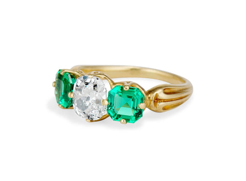 Victorian 1.16 Carat Cushion Cut Diamond and Emerald Engagement Ring