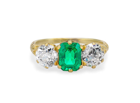 Victorian 1.48 Carat Colombian Emerald & Diamond Three Stone Carved Ring
