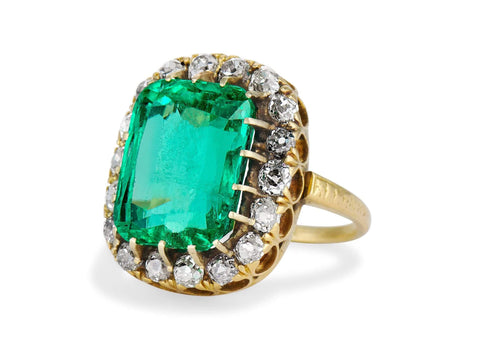 Victorian 10.22 Cushion Cut Emerald and Diamond Cluster Ring