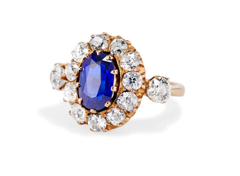 Victorian 2.00 Oval Unheated Sapphire and Diamond with Gold Cluster Engagement Ring