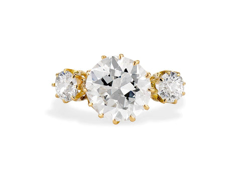 Victorian 3.04 Carat Three-Stone Old European Diamond and Gold Ring