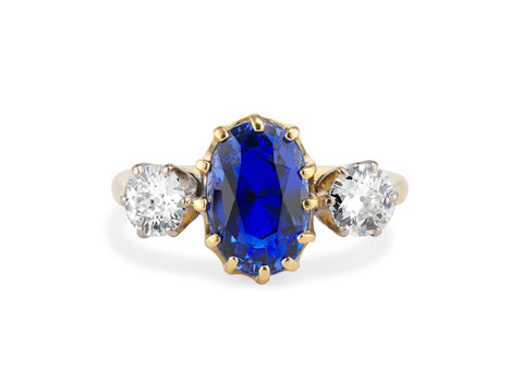 Vintage 4.39 Carat Untreated Ceylon Sapphire and Diamond Three-Stone Ring