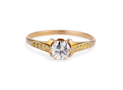 Victorian .61 Old European Diamond and Gold Engagement Ring
