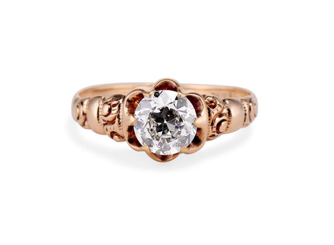 Victorian .84 Carat Old European Diamond and Gold Engagement Ring
