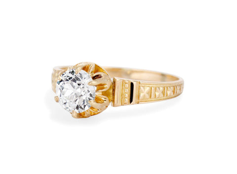 Victorian Archeological Revival .90 Carat Diamond Ring