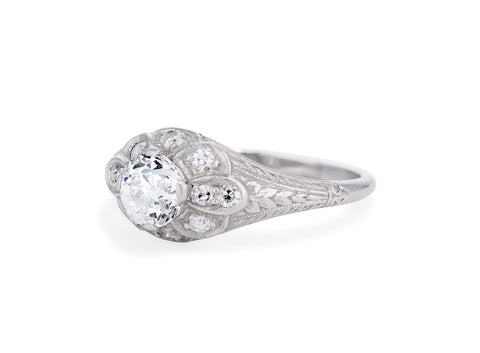 William Wise & Son .72 Carat Old European Cut Diamond Ring