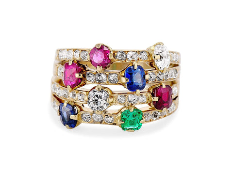 1940s Retro Diamond & Multi Gem Ring