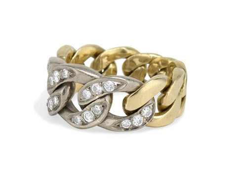 1970s Diamond & Bi-Color Gold Curb Link Chain Ring