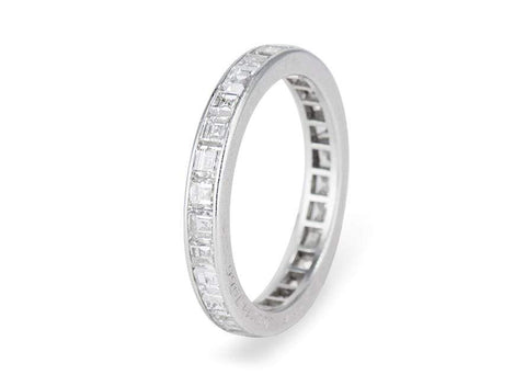 1960s 2.50 Carat Carre Cut Diamond Eternity Band