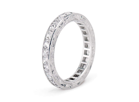 Art Deco 2.25 Carat French Cut Diamond Band