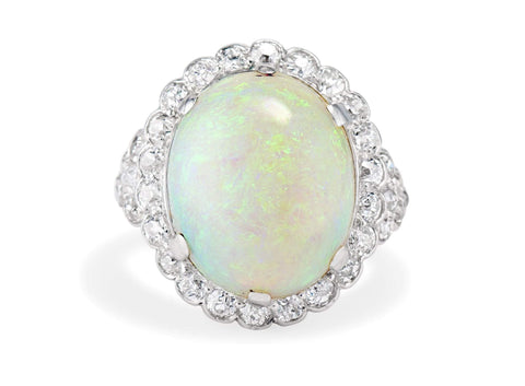 Art Deco Cabochon Opal Diamond and Platinum Ring