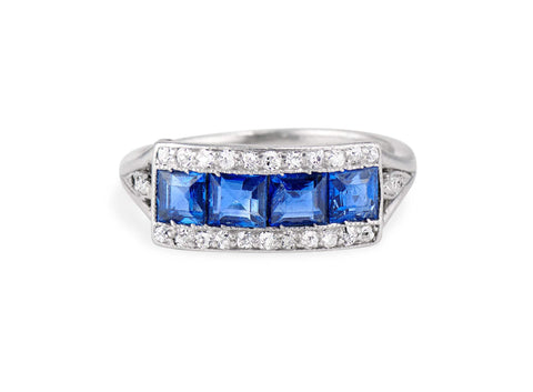 Art Deco French Calibré Cut Sapphire and Diamond Half Band