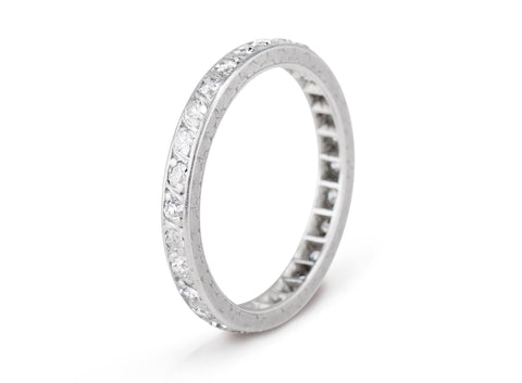 Art Deco French .60 Carat Single Cut Diamond and Platinum Wedding Band