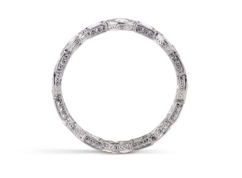 Art Deco Diamond and Platinum Wedding Band