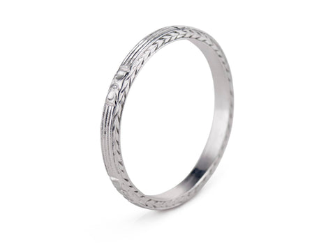 Art Deco Engraved Platinum Wedding Band