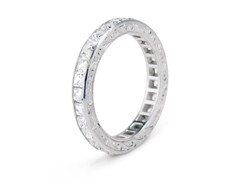 Art Deco French Cut Diamond and Platinum Engraved Wedding Band