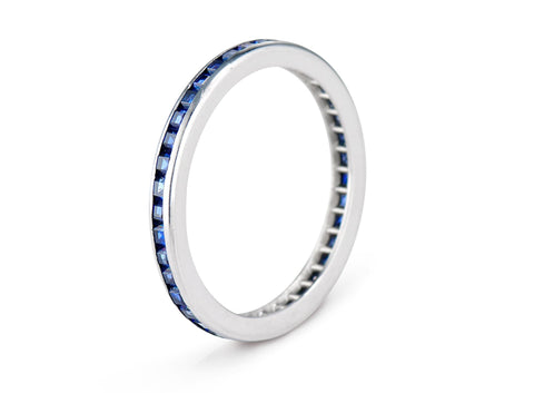 Art Deco .50 Carat Calibré Sapphire Wedding Band