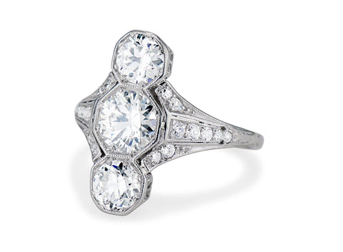 Art Deco Three-Stone Diamond and Platinum Ring