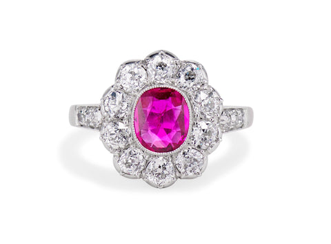 Early Art Deco .75 Cushion Ruby and Diamond Cluster, England