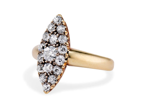 Edwardian Diamond and Gold Navette Ring