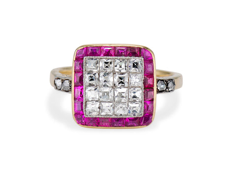 Edwardian French-Cut Diamond and Ruby Ring
