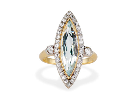 Edwardian Marquise Cut Aquamarine & Diamond Dinner Ring