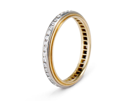 Edwardian Platinum and Gold with Diamonds Wedding Band