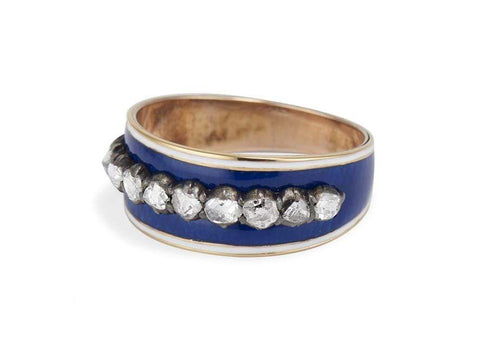 Georgian Royal Blue Enamel & Diamond Band