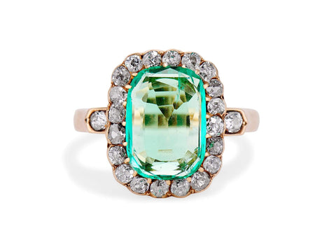 Late Victorian 2.20 Carat Columbian Emerald and Diamond Ring