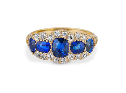 Late Victorian Cushion-Cut Sapphire and Diamond & Gold 5-Stone Ring