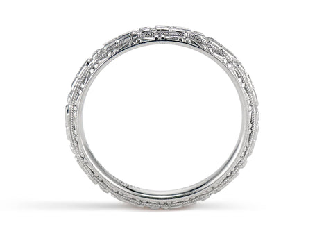 Art Deco Lohengrin White Gold Engraved Band
