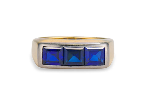 Mid-Century Tiffany & Co. 2.10 Carré-Cut Sapphire 3-Stone Ring