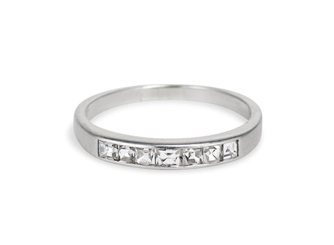 Mid Century .70 Carat Carre Cut Diamond Half Band