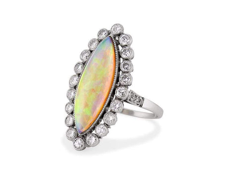 Mid Century Opal & Diamond Dinner Ring