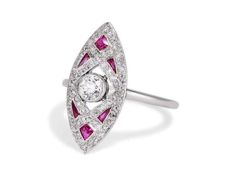 Tiffany & Co Ruby Diamond Navette Ring