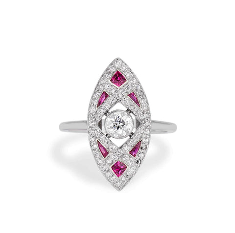 Tiffany & Co. Ruby and Diamond Navette Ring