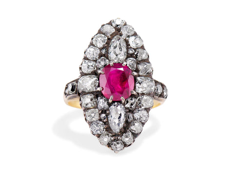 Victorian 1.67 Carat Untreated Burma Ruby and Diamond Dinner Ring