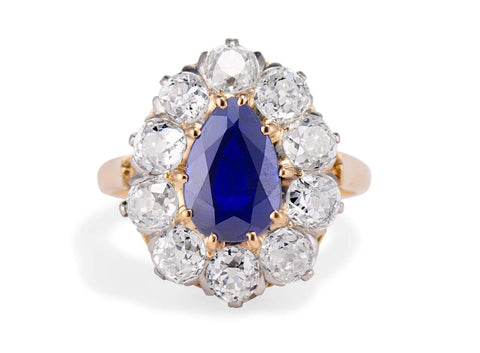 Victorian 3.20 Carat Pear Shaped Sapphire and Diamond Cluster Ring, France