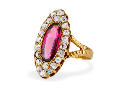 Victorian Alamandine Garnet & Diamond Dinner Ring, England