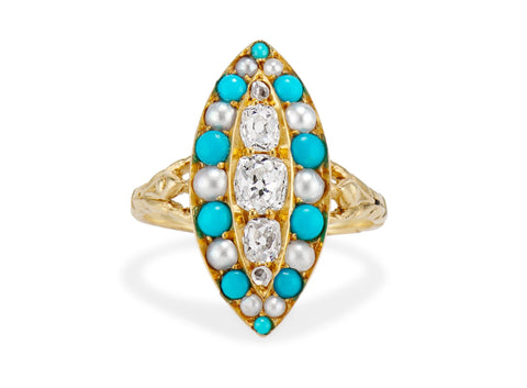 Victorian Navette Turquoise Pearl & Diamond Dinner Ring