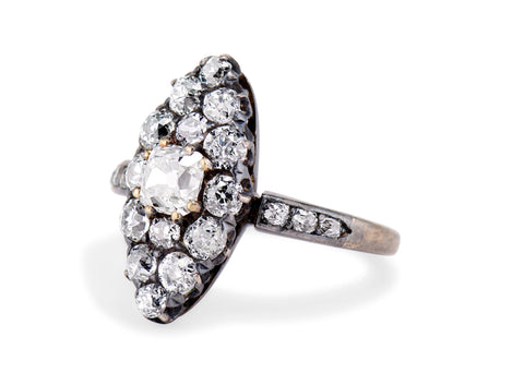 Victorian .50 Old Mine Cut Diamond Cluster Navette Ring