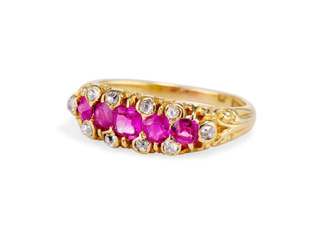 Victorian B.W. Fase & Co. Ruby and Diamond Half Band, England