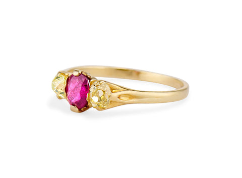 Victorian Ruby and Yellow Diamond Three-Stone Engagement Ring