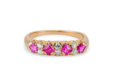 Victorian Step Cut Ruby & Diamond Half Band