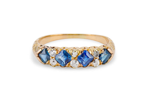Victorian Step Cut Sapphire & Diamond Half-Band
